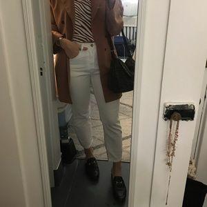 Levi 501 Straight Crop White Jeans